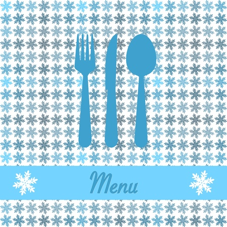 comida de navidad: Tarjeta de Navidad para el menú del restaurante, con cuchara, cuchillo y tenedor Vectores