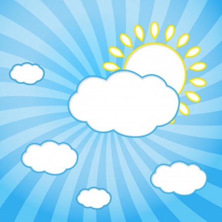 Abstract web design background with clouds and sun with rays.  illustration Stock Vector - 16464291