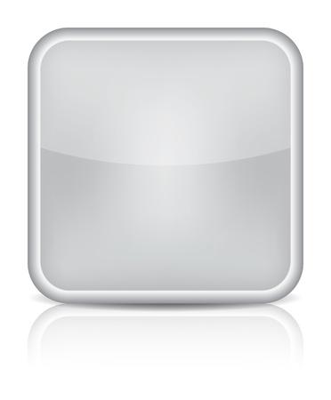 회색 광택 빈 인터넷 버튼을 누릅니다. 흰색 배경에 모서리가 둥근 사각형 모양의 아이콘입니다.