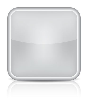 inet: Gray glossy blank internet button. Rounded square shape icon on white background. Illustration