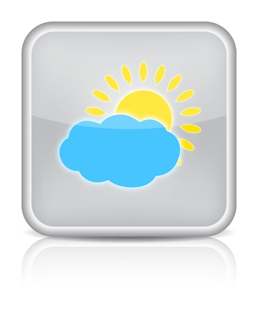 Weather web icon with sun and cloud on white background   Vector