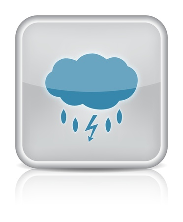 Weather icon web con tormenta en el fondo blanco