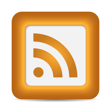 syndication: Bot�n naranja brillante con signo web RSS. Redondeado icono de forma cuadrada en fondo blanco. 10 eps