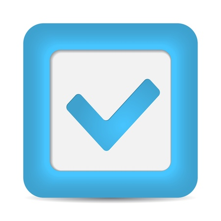 validation: Blue glossy web button with check mark sign. Rounded square shape icon on white background.  Illustration