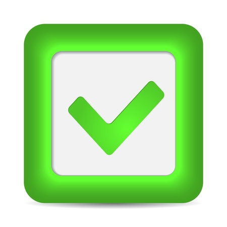 validation: Green glossy web button with check mark sign. Rounded square shape icon on white background.