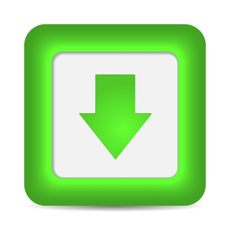 down arrow: Green glossy internet button with download arrow sign. Rounded square shape icon on white background.