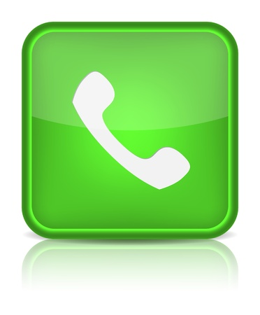 telephone line: Phone icon on green button.  Illustration