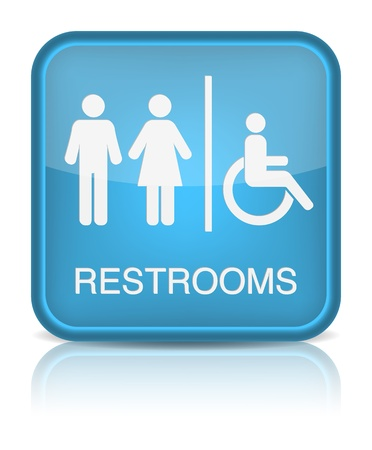 public restroom: Restrooms Sign.  Illustration