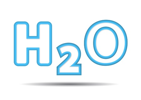 h20: formula of the water H2O.   Illustration