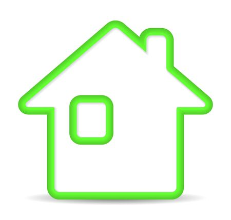 home icon: Green home icon on white background.   Illustration