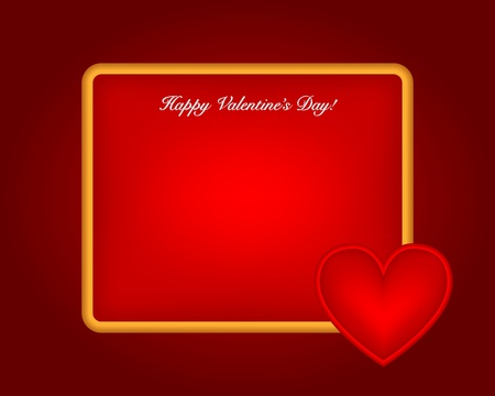 Red shiny heart shape on card Valentine's day.  background Stock Vector - 17179004