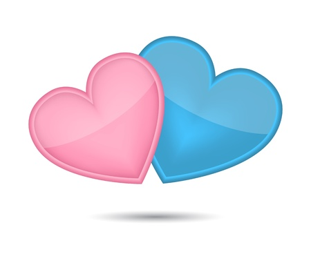 Two hearts from Valentine's day.  illustration Vector