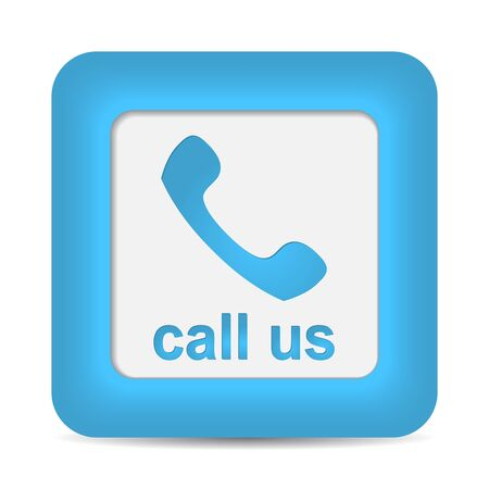 Call Us. Phone icon on blue button.   Vector