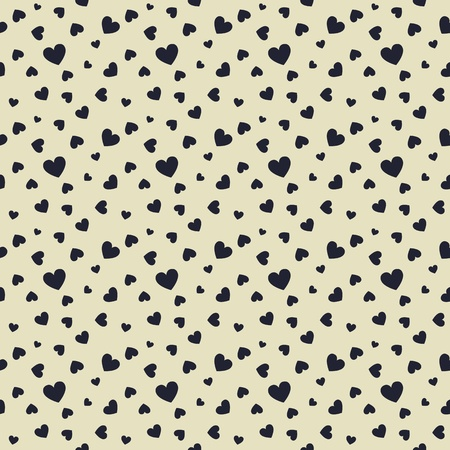 Seamless stylish pattern with black hearts Vector