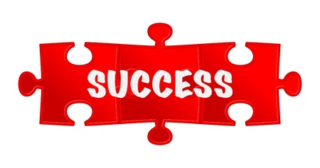pieces of puzzle and word  success  Illustration