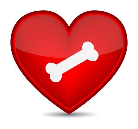 cross bones: Dog bone on red heart shape.  Illustration