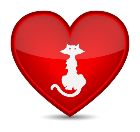 Cat icons on red heart shape.  Vector