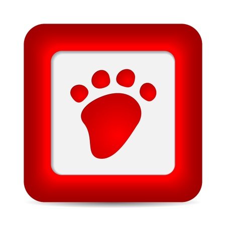 Paw button on white background. Stock Vector - 17597675