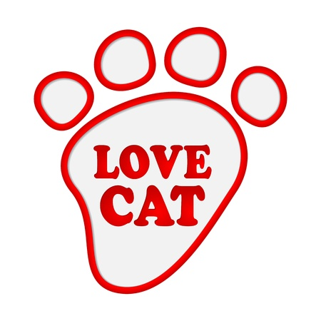 Paw print stickers with text love cat. Stock Vector - 17597736