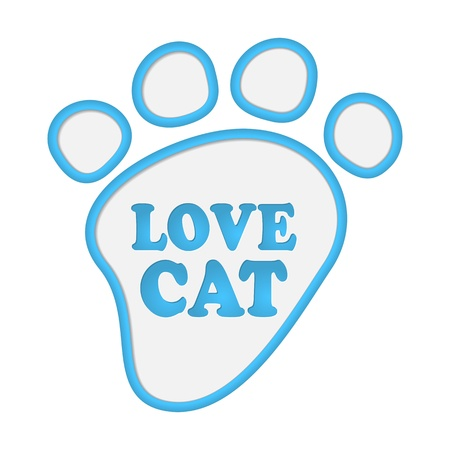 Paw print stickers with text love cat.  Vector