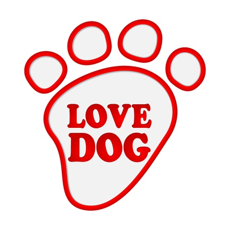 Paw print stickers with text love dog.  Vector