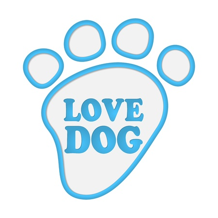 Paw print stickers with text love dog. Stock Vector - 17597738