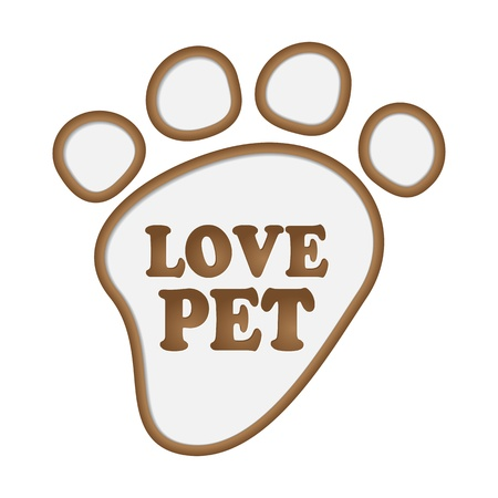 Paw print stickers with text love pet.  Vector