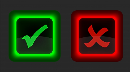 Check mark buttons on black background.  Vector