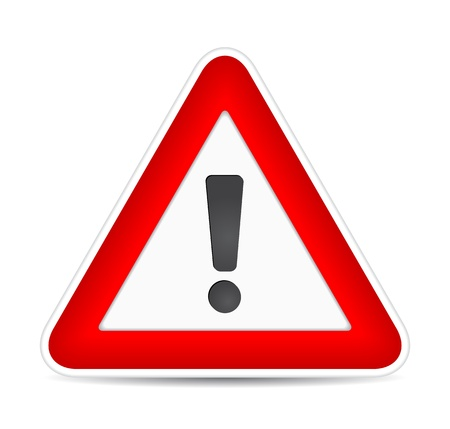 danger symbol: Red Exclamation Sign, traffic sign. illustration