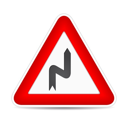 Danger turn, traffic sign.  illustration Vector