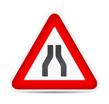 Road narrows traffic sign.  illustration Stock Vector - 17885228