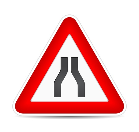 Road narrows traffic sign.  illustration Stock Vector - 17885228