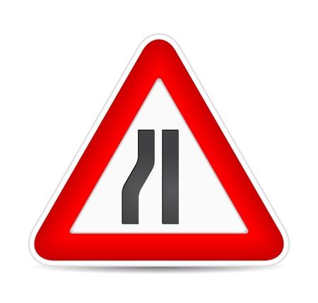 Road narrows traffic sign. illustration Vector