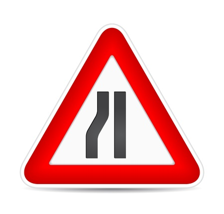 yield sign: Road narrows traffic sign. illustration Illustration