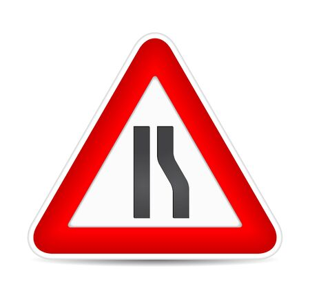 yield sign: Road narrows traffic sign.  illustration
