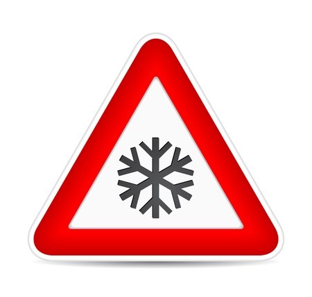 warning triangle: traffic sign for attention snow.  illustration