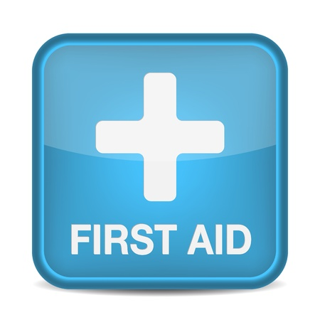 First aid medical button sign isolated on white. illustration Vector