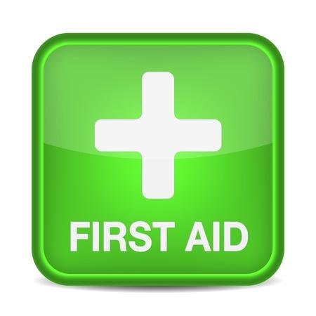 botiquin de primeros auxilios: El primer signo asistencia médica botón aislado en blanco. ilustración Vectores
