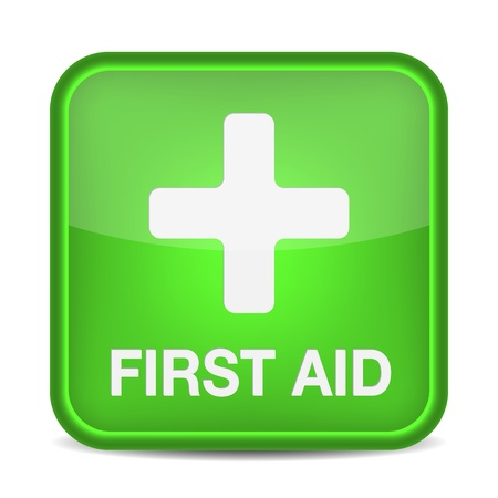 safety first: First aid medical button sign isolated on white.  illustration
