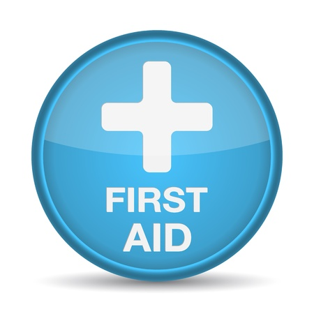 First aid medical button sign isolated on white.  illustration Stock Vector - 17885237