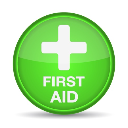 First aid medical button sign isolated on white. illustration Stock Vector - 17885235