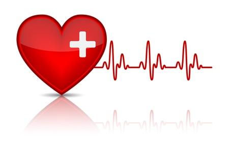 심장 박동, 심전도와 심장의 그림입니다. 삽화