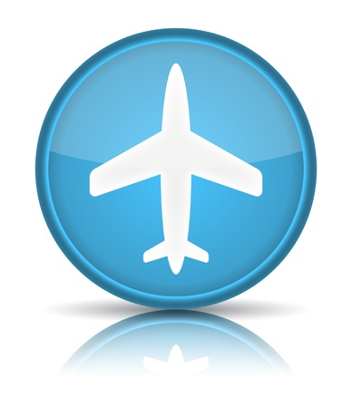 Airplane icon. Sign with reflection isolated on white. illustration Vector