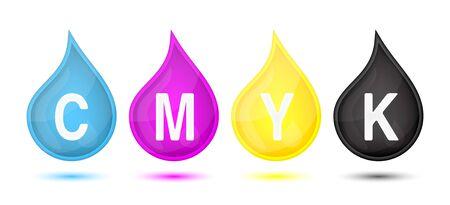 modes: CMYK color modes droplet, vector illustration Illustration