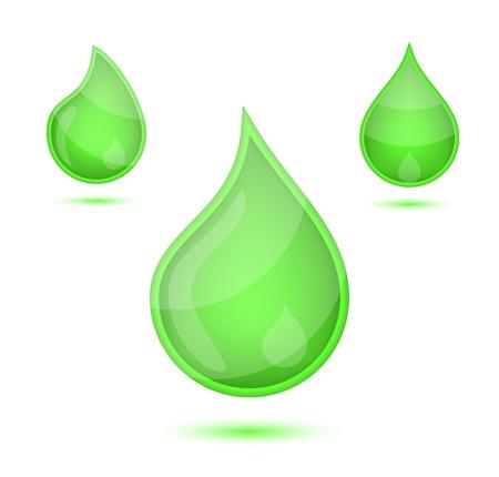liquid soap: Green liquid drops icon emblem, vector illustration