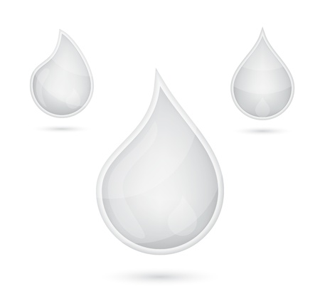 White liquid drops icon emblem, vector illustration