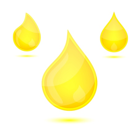 cosmetic cream: Yellow liquid drops icon emblem, vector illustration
