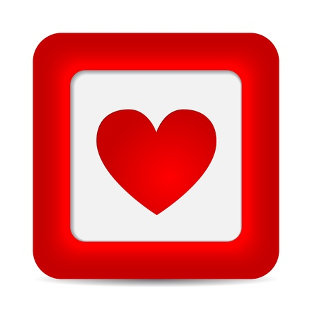 Red glossy web button with heart sign illustration Vector