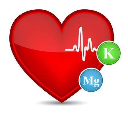 potassium: Heart shape with vitamins