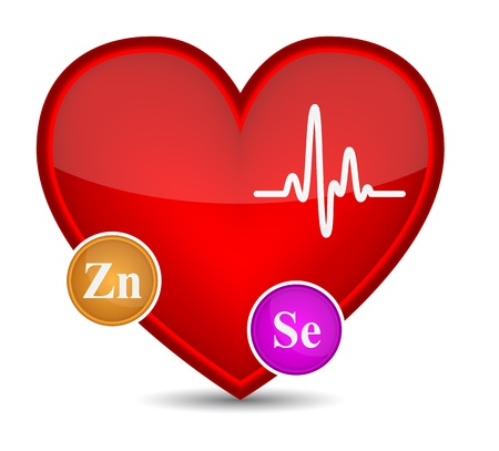 Heart shape with vitamins illustration Stock Vector - 18595551